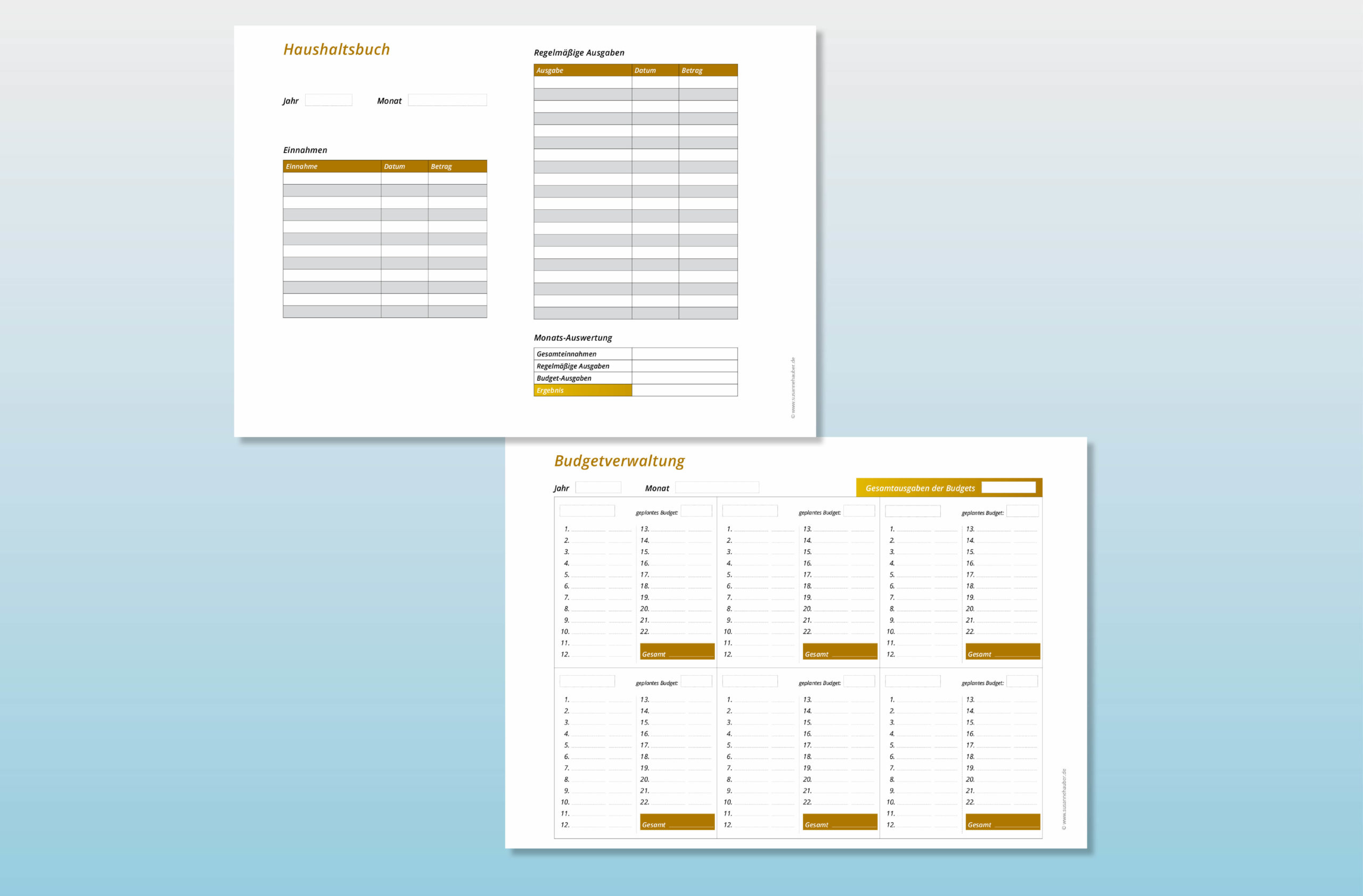 Vorlagen für Haushaltsbuch und Budgetverwaltung