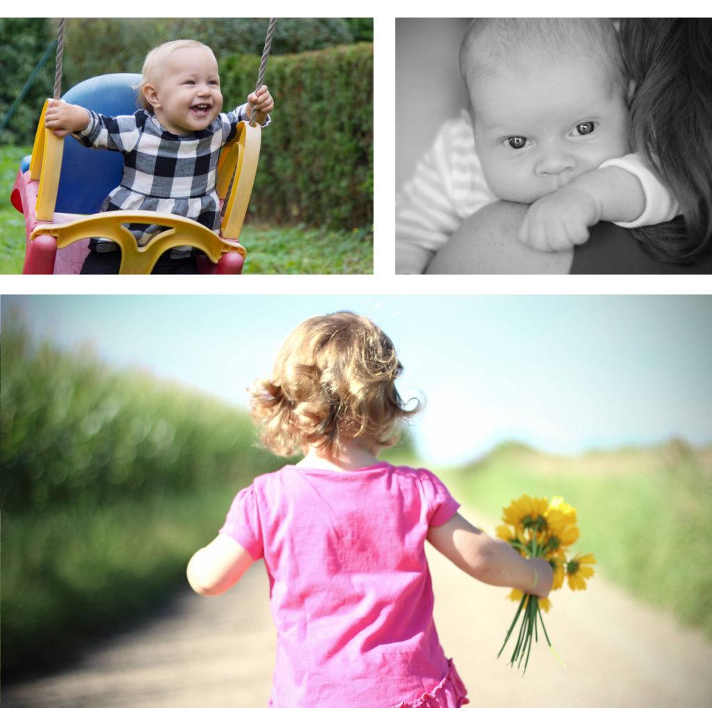 Mädchen auf Schaukel, Baby und Mama, Mädchen mit Blumen